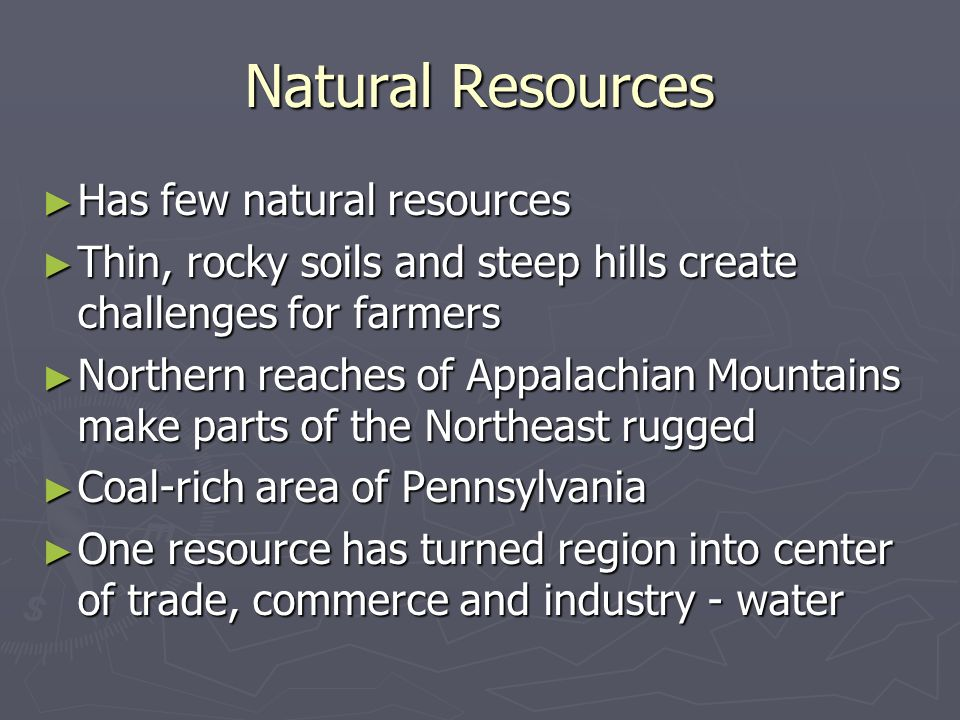 Natural Resources Has few natural resources