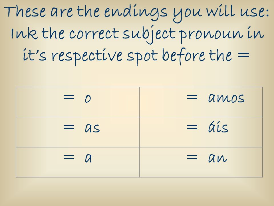 These are the endings you will use: Ink the correct subject pronoun in it's respective spot before the =
