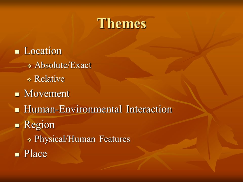 Themes Location Movement Human-Environmental Interaction Region Place