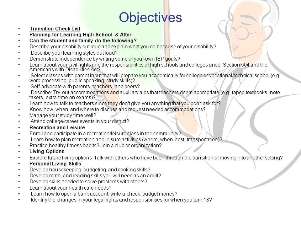 Objectives Transition Check List