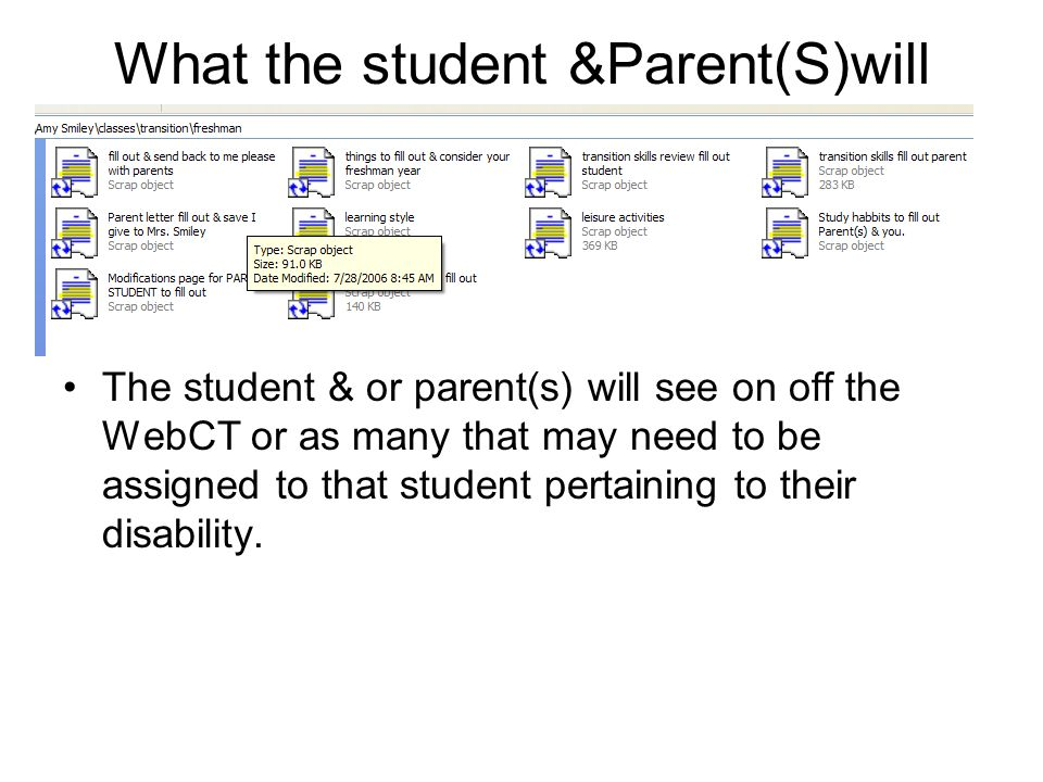 What the student &Parent(S)will see