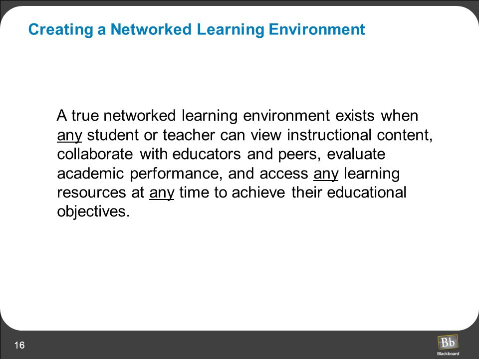 Creating a Networked Learning Environment