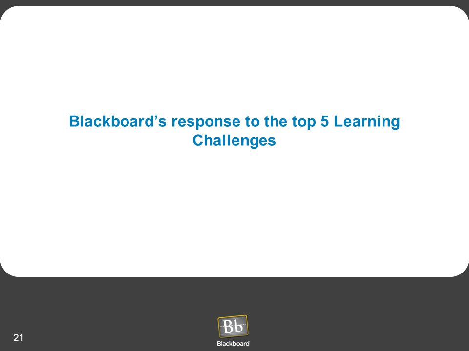 Blackboard's response to the top 5 Learning Challenges