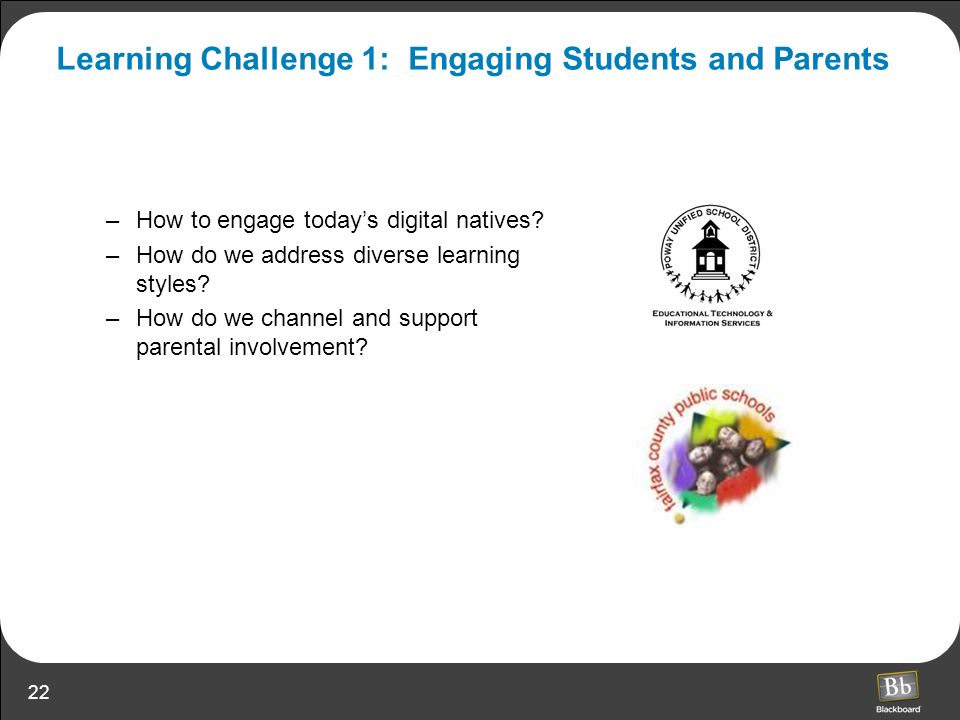 Learning Challenge 1: Engaging Students and Parents