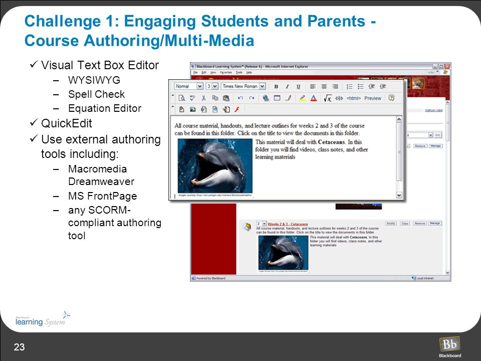 Challenge 1: Engaging Students and Parents - Course Authoring/Multi-Media