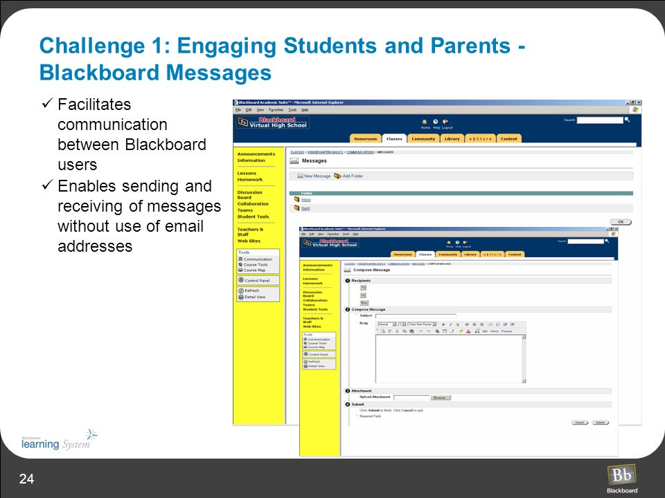 Challenge 1: Engaging Students and Parents - Blackboard Messages