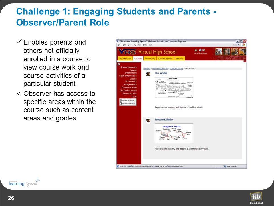Challenge 1: Engaging Students and Parents - Observer/Parent Role