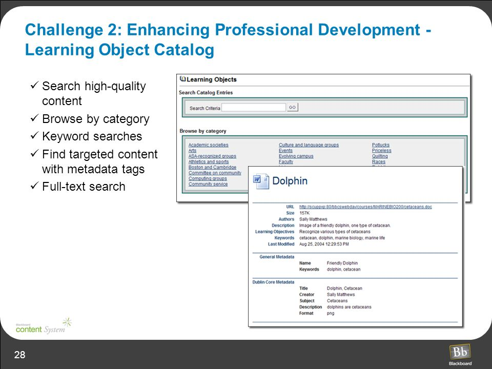Challenge 2: Enhancing Professional Development - Learning Object Catalog