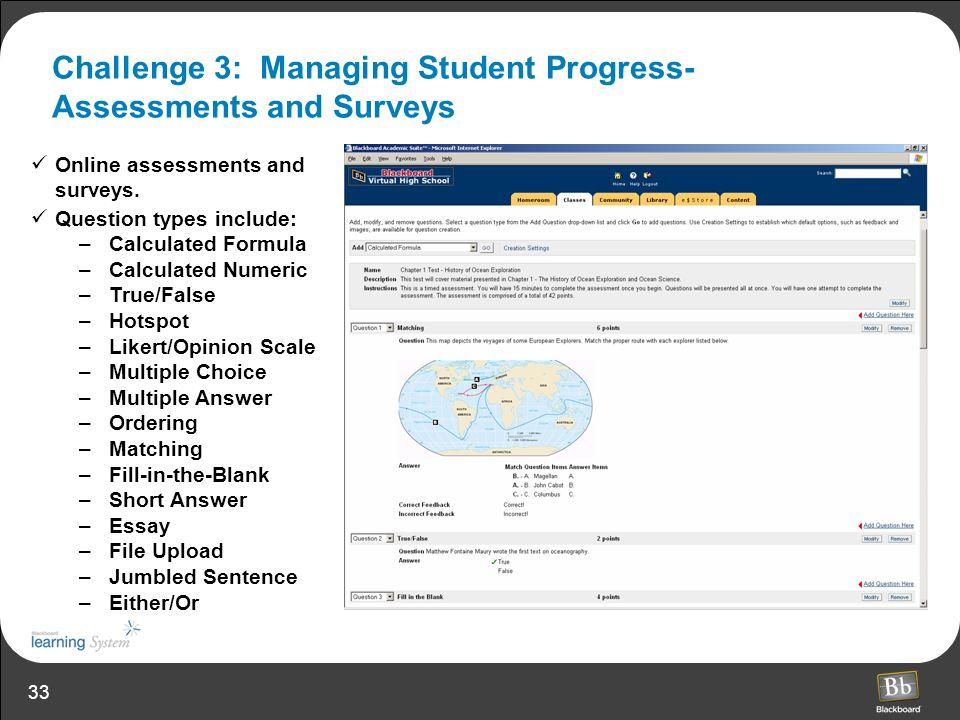 Challenge 3: Managing Student Progress- Assessments and Surveys
