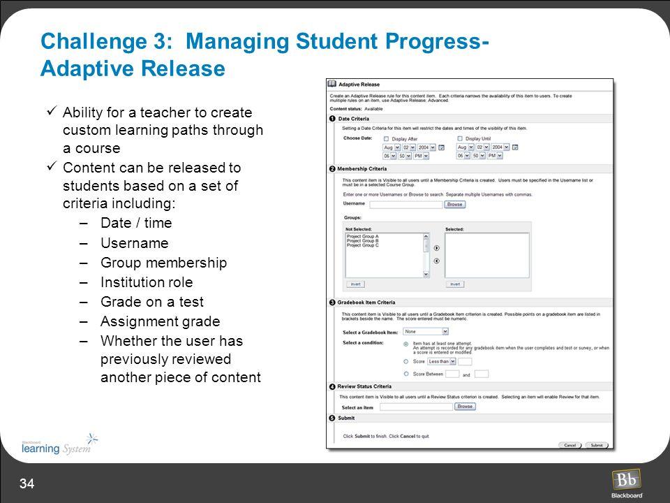 Challenge 3: Managing Student Progress- Adaptive Release