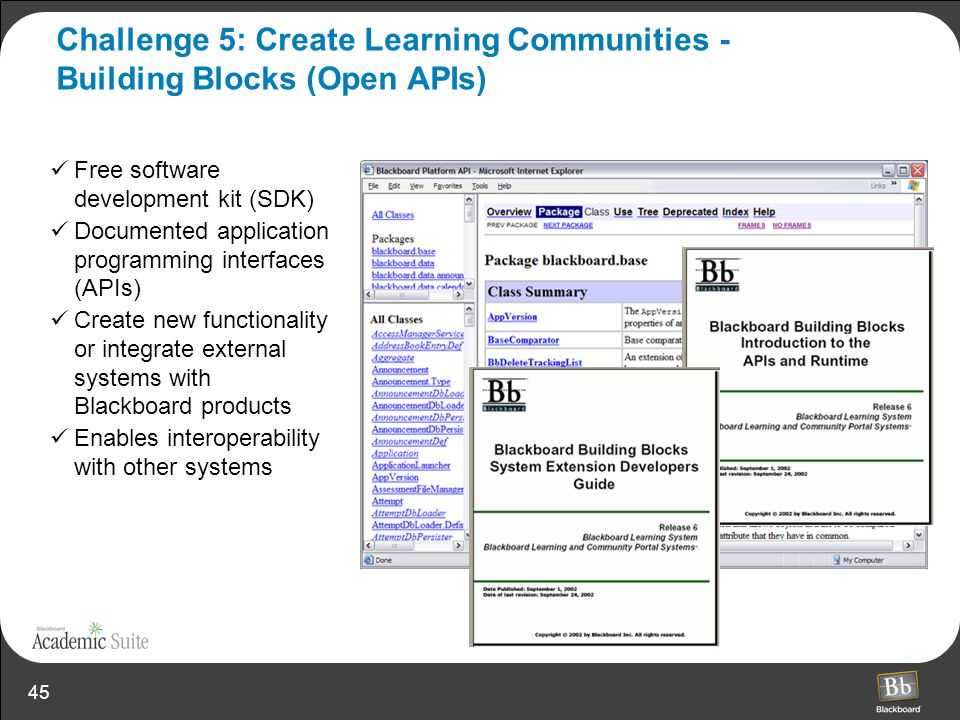 Challenge 5: Create Learning Communities - Building Blocks (Open APIs)