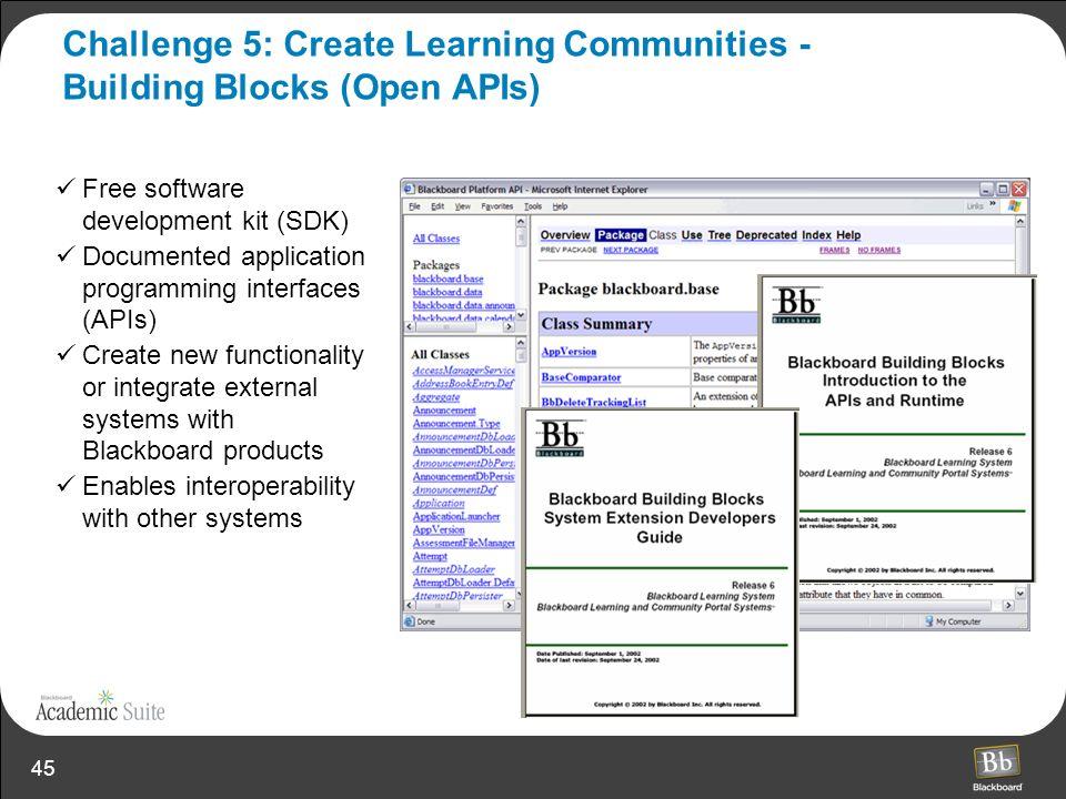Challenge 5: Create Learning Communities - Building Blocks (Open APIs)