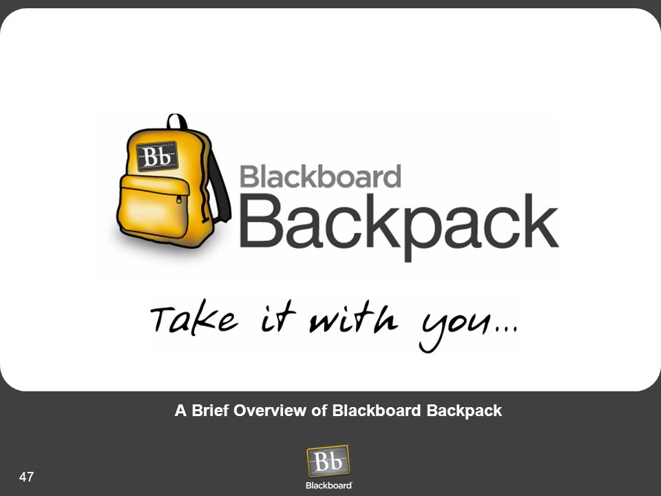 A Brief Overview of Blackboard Backpack