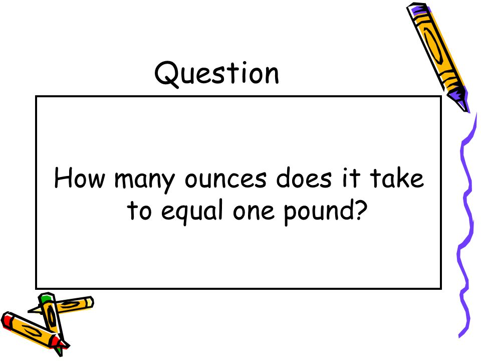 How many ounces does it take to equal one pound