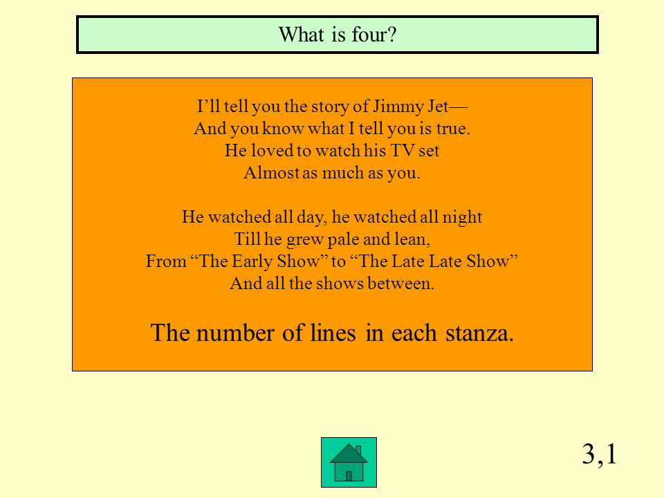 3,1 The number of lines in each stanza. What is four