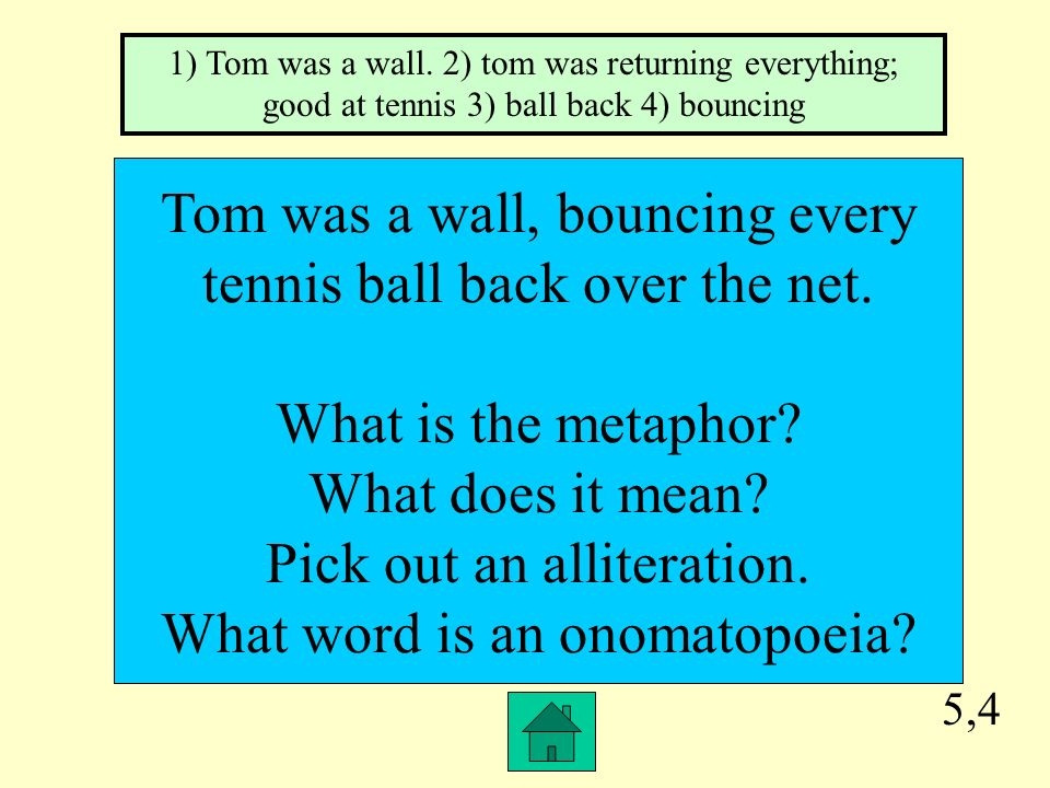 Tom was a wall, bouncing every tennis ball back over the net.