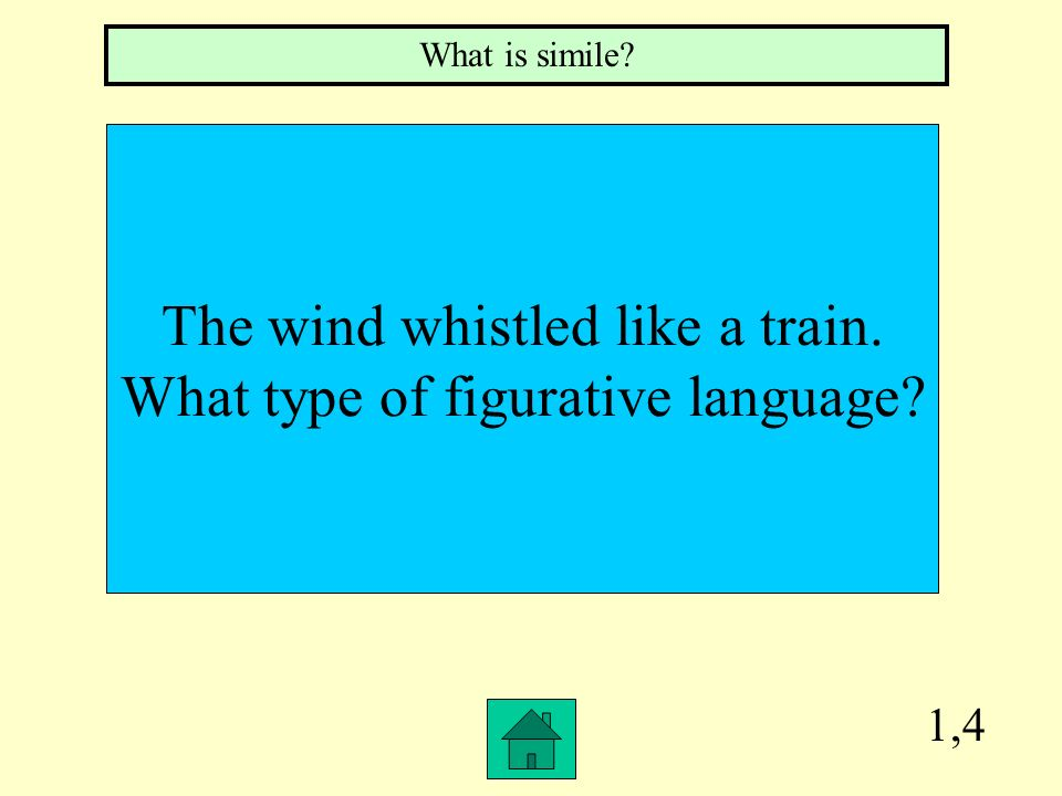 The wind whistled like a train. What type of figurative language
