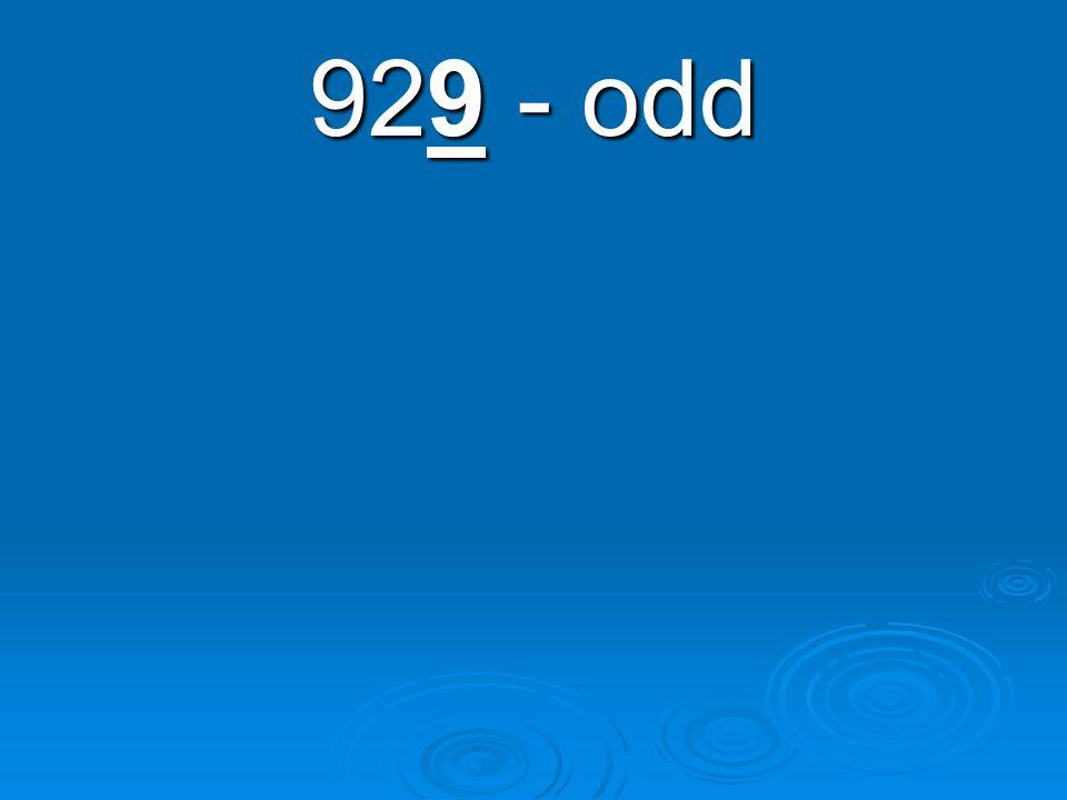 929 - odd