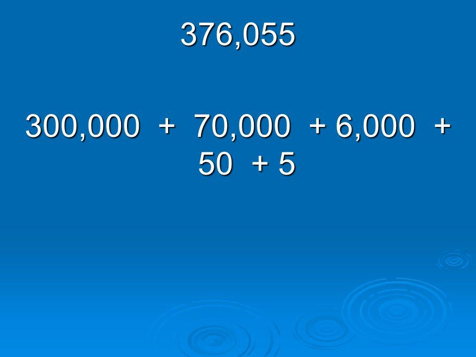 376,055 300,000 + 70,000 + 6,000 + 50 + 5