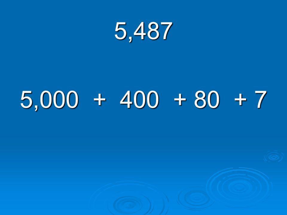 5,487 5,000 + 400 + 80 + 7
