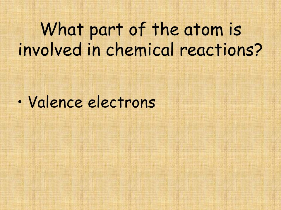 What part of the atom is involved in chemical reactions