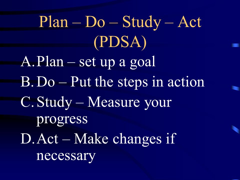 Plan – Do – Study – Act (PDSA)