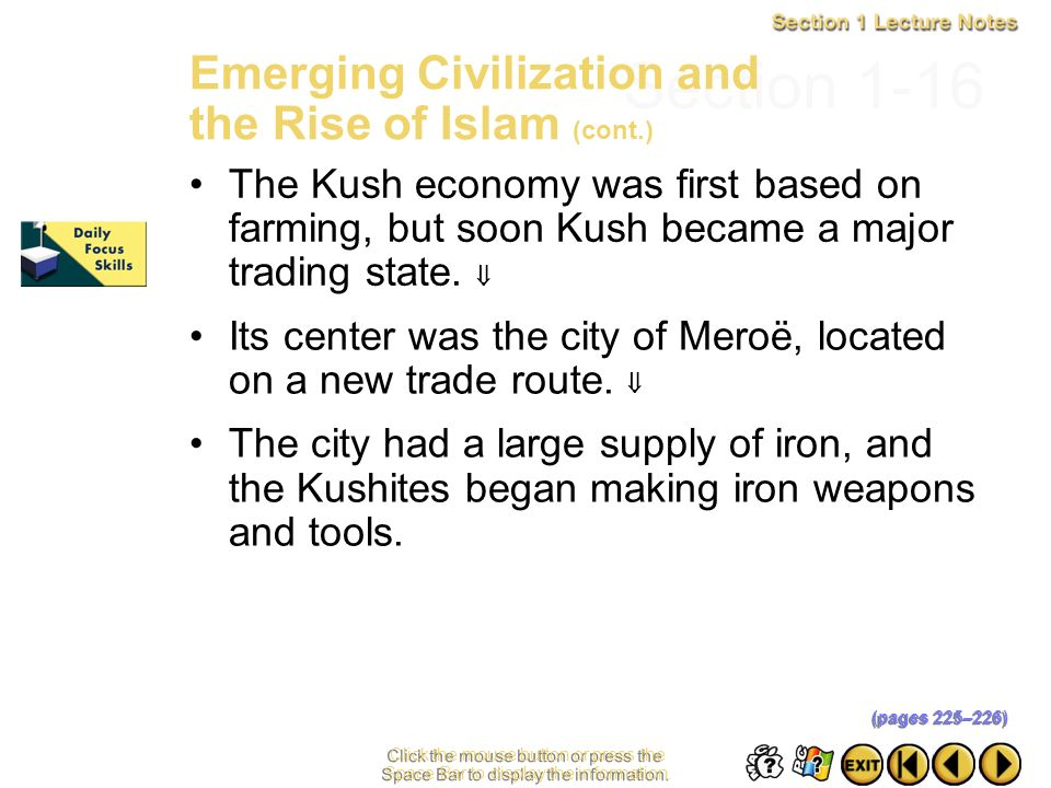 Section 1-16 Emerging Civilization and the Rise of Islam (cont.)