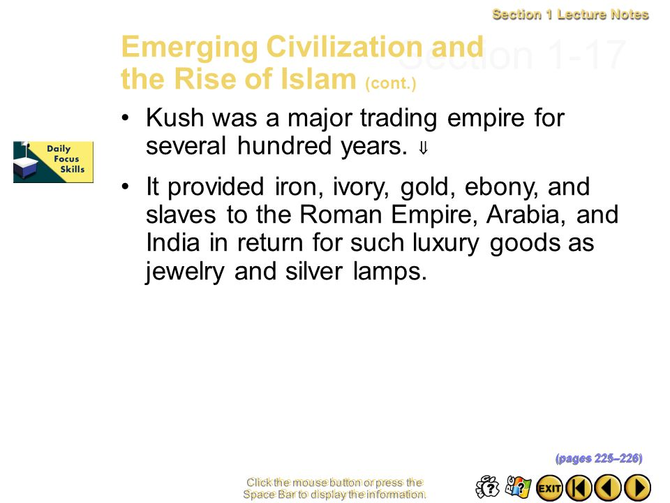 Section 1-17 Emerging Civilization and the Rise of Islam (cont.)