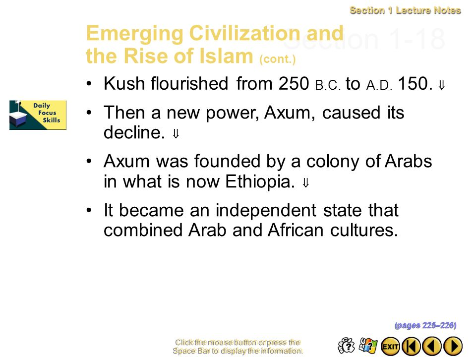 Section 1-18 Emerging Civilization and the Rise of Islam (cont.)