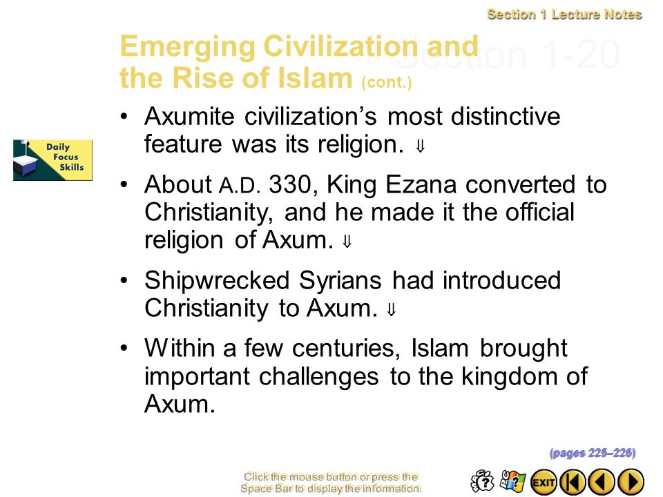 Section 1-20 Emerging Civilization and the Rise of Islam (cont.)