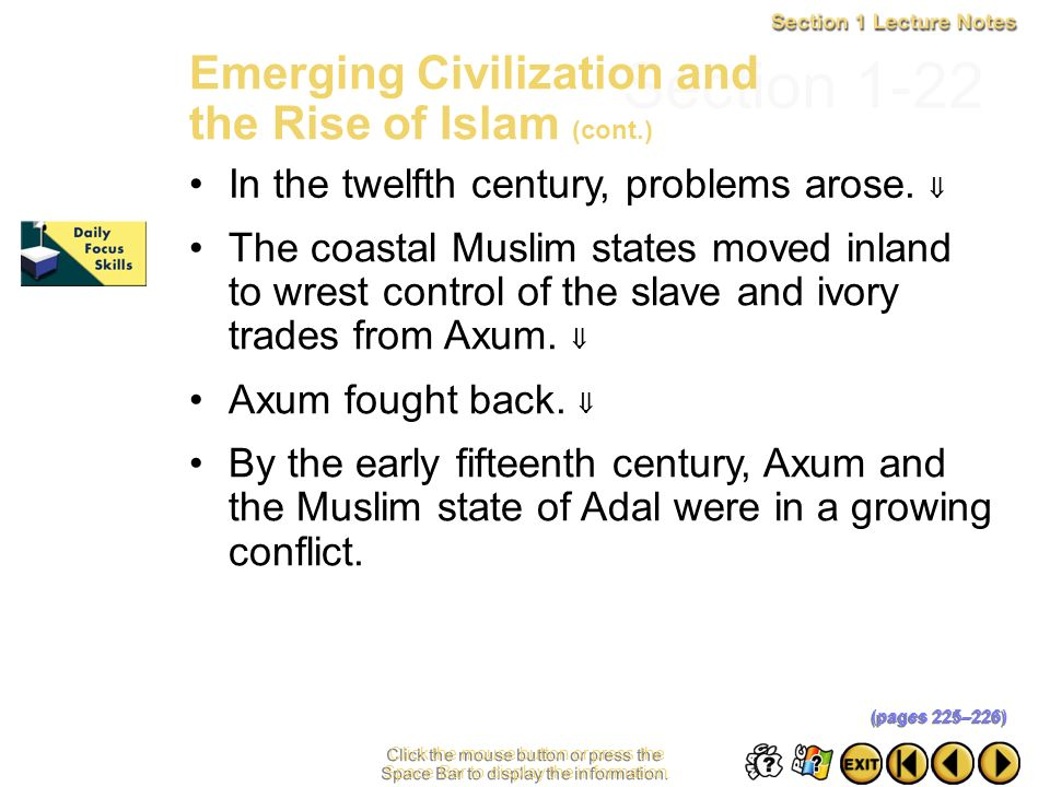 Section 1-22 Emerging Civilization and the Rise of Islam (cont.)