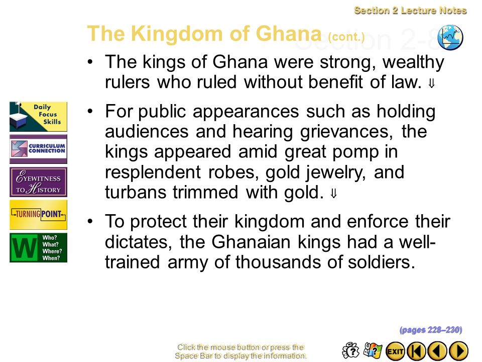 Section 2-8 The Kingdom of Ghana (cont.)