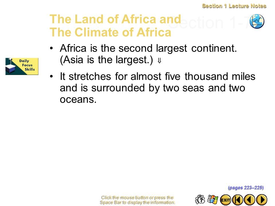 Section 1-7 The Land of Africa and The Climate of Africa