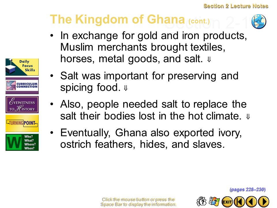 Section 2-10 The Kingdom of Ghana (cont.)