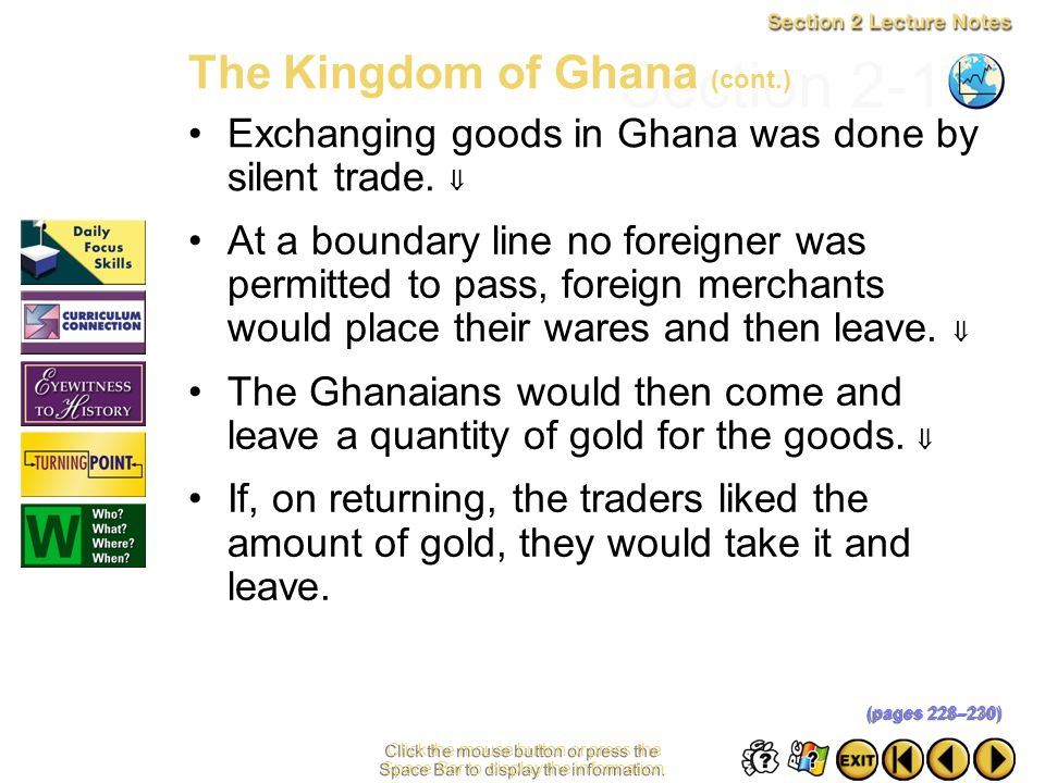 Section 2-11 The Kingdom of Ghana (cont.)