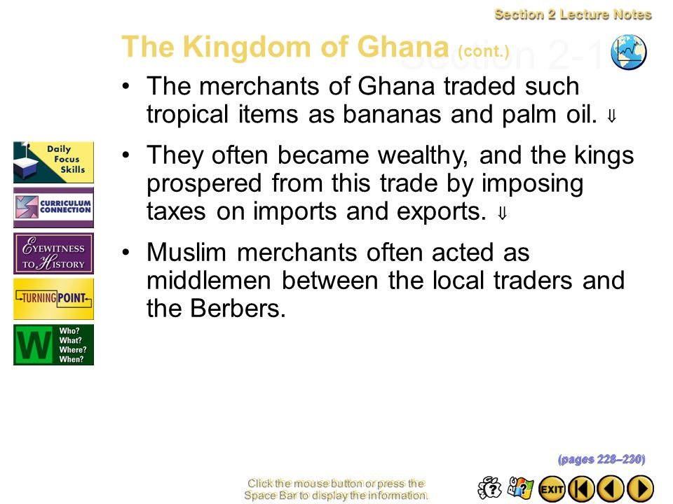 Section 2-14 The Kingdom of Ghana (cont.)