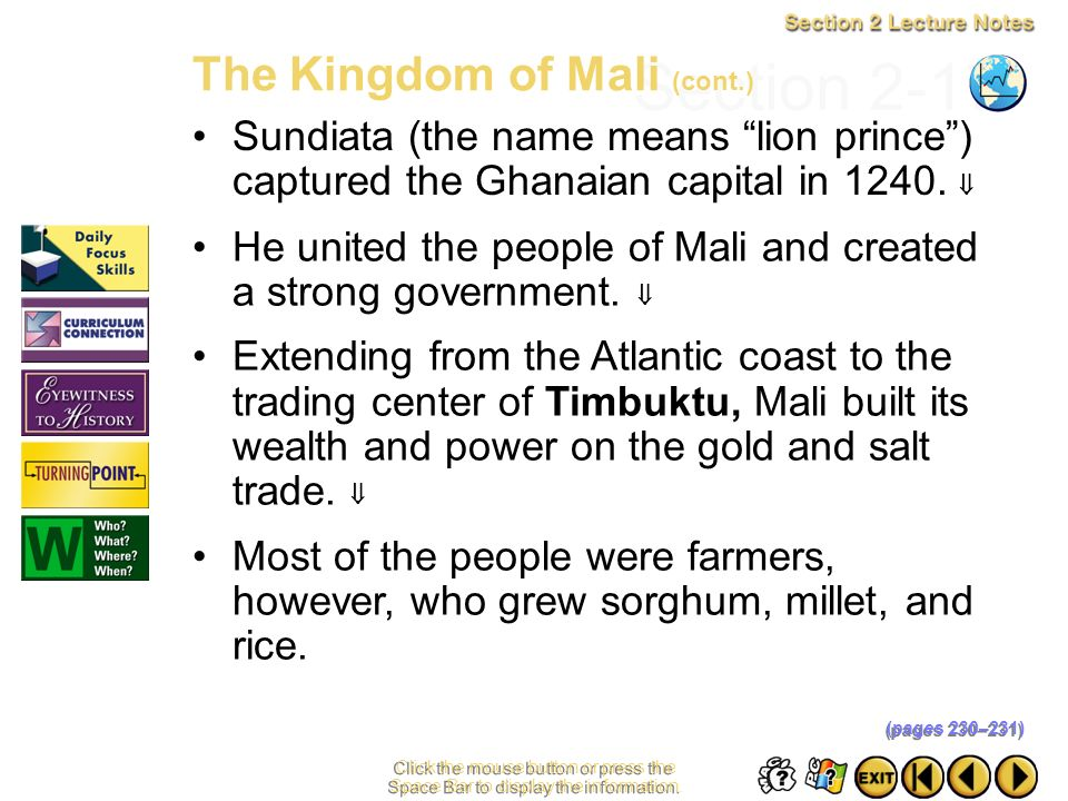 Section 2-17 The Kingdom of Mali (cont.)
