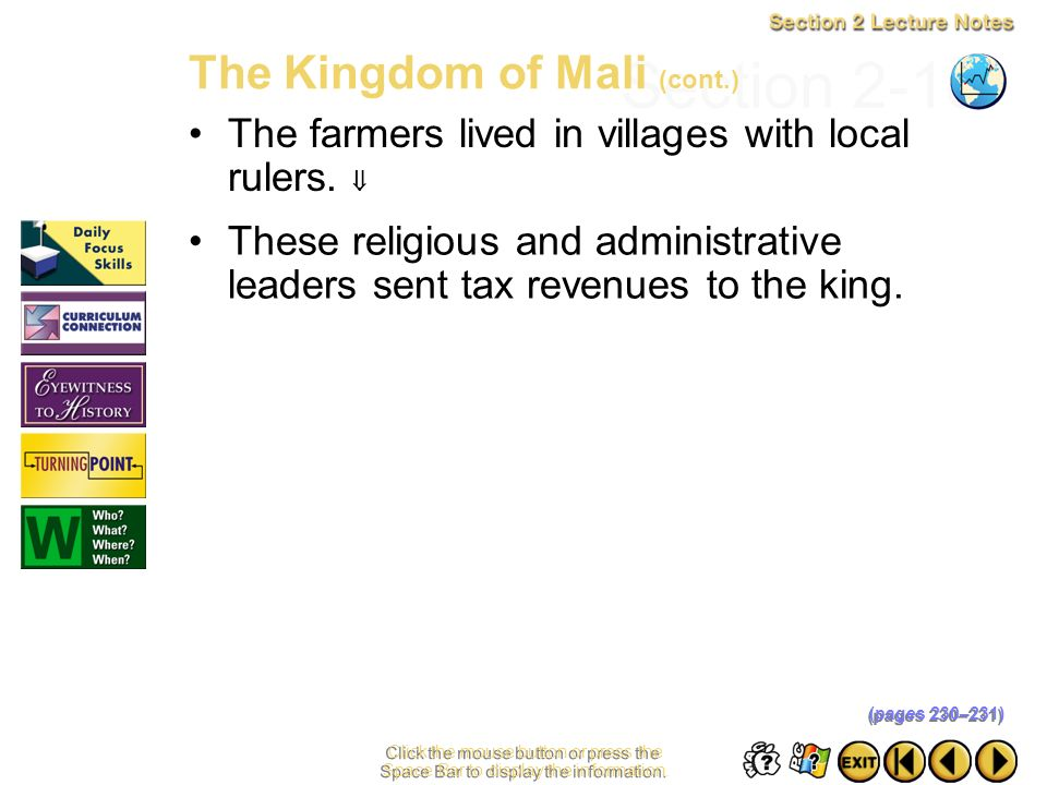 Section 2-18 The Kingdom of Mali (cont.)