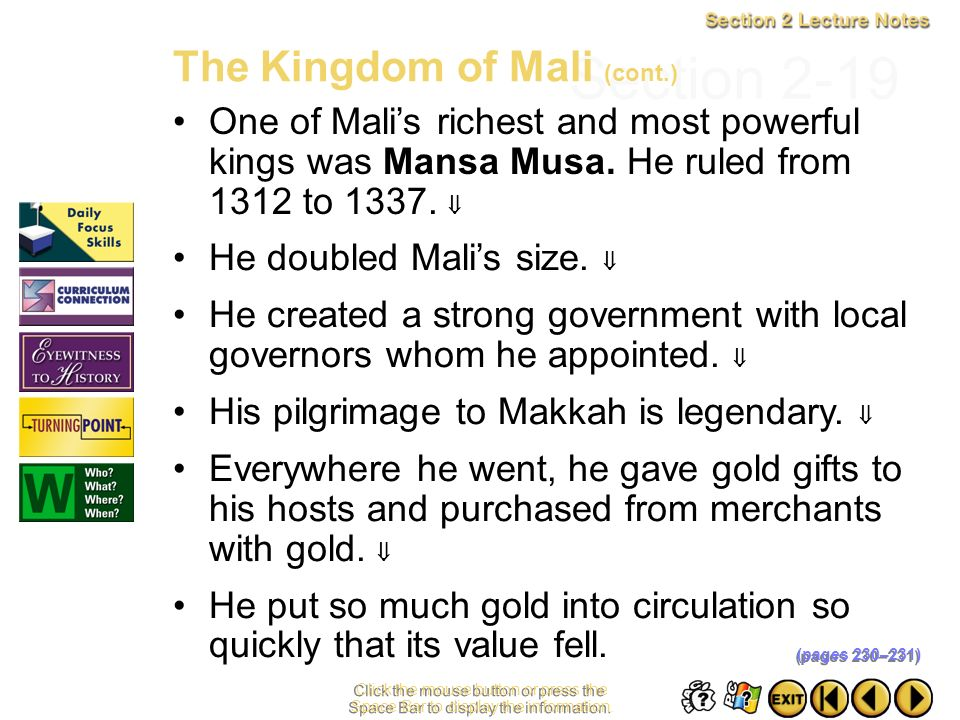 Section 2-19 The Kingdom of Mali (cont.)
