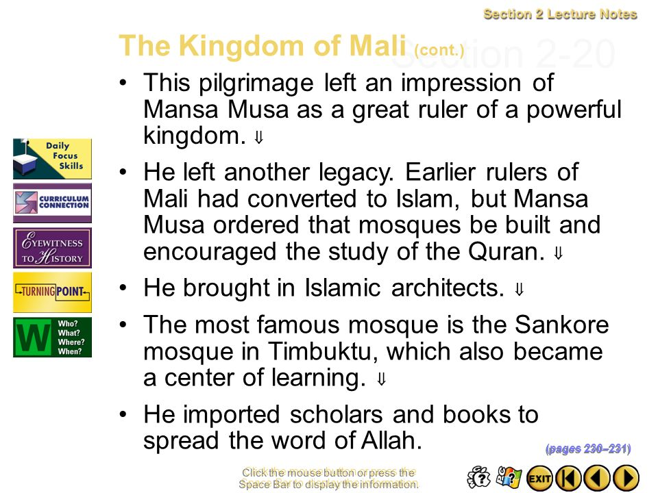 Section 2-20 The Kingdom of Mali (cont.)