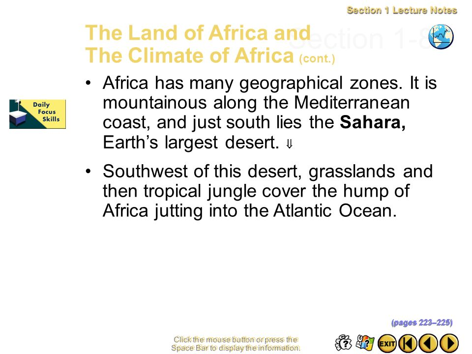 Section 1-8 The Land of Africa and The Climate of Africa (cont.)