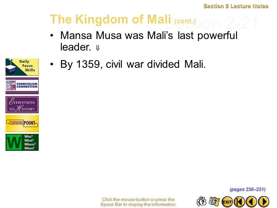 Section 2-21 The Kingdom of Mali (cont.)
