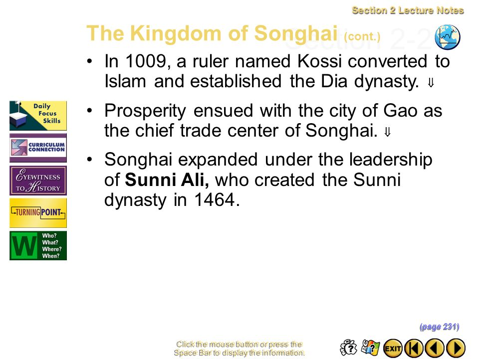 Section 2-24 The Kingdom of Songhai (cont.)