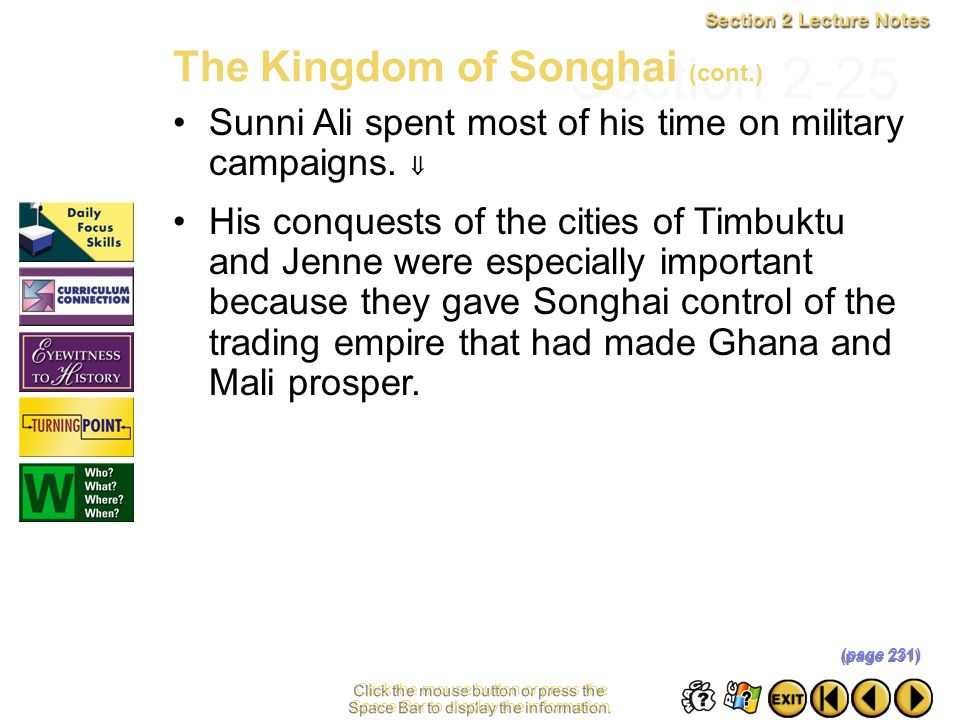 Section 2-25 The Kingdom of Songhai (cont.)