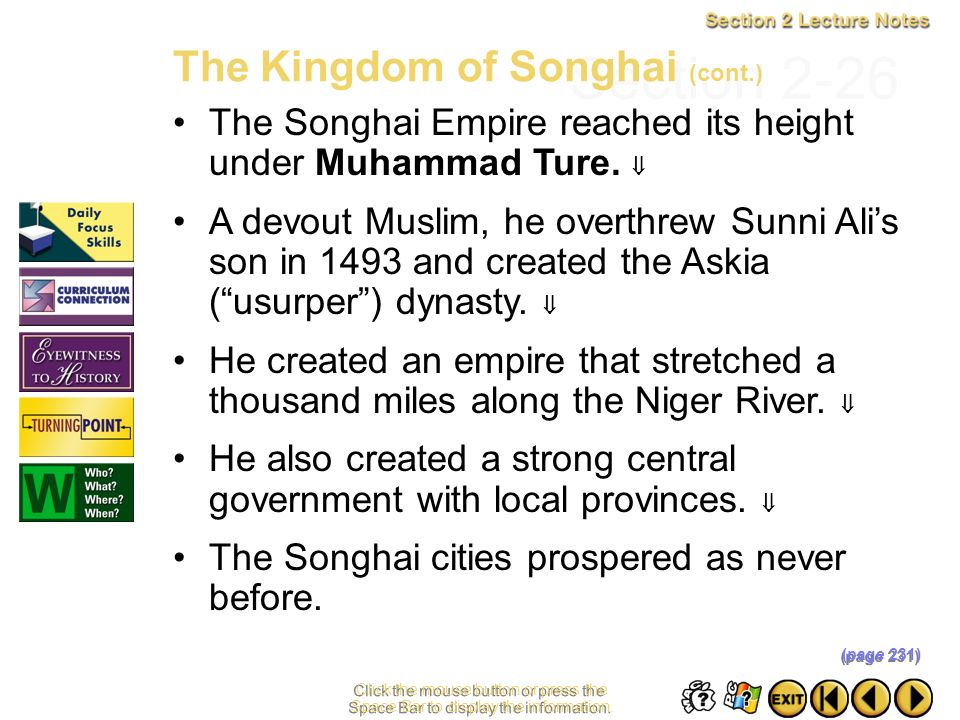 Section 2-26 The Kingdom of Songhai (cont.)