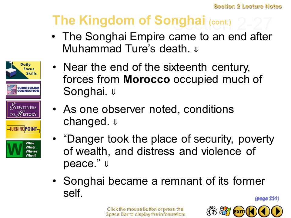 Section 2-27 The Kingdom of Songhai (cont.)