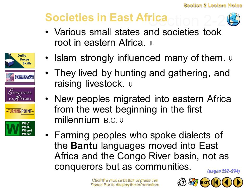 Section 2-29 Societies in East Africa
