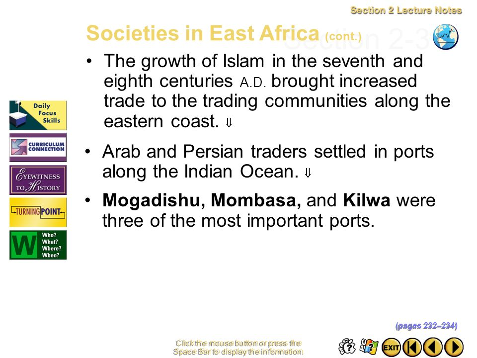 Section 2-31 Societies in East Africa (cont.)