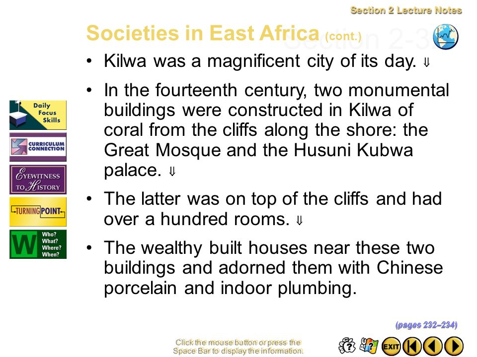 Section 2-32 Societies in East Africa (cont.)