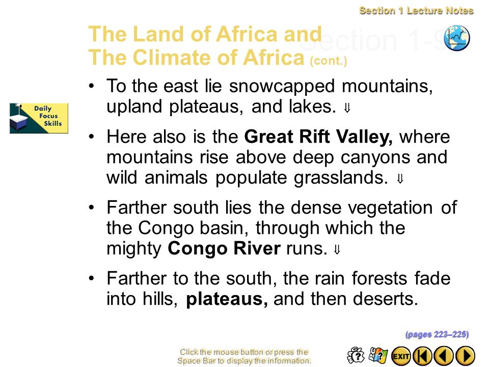 Section 1-9 The Land of Africa and The Climate of Africa (cont.)